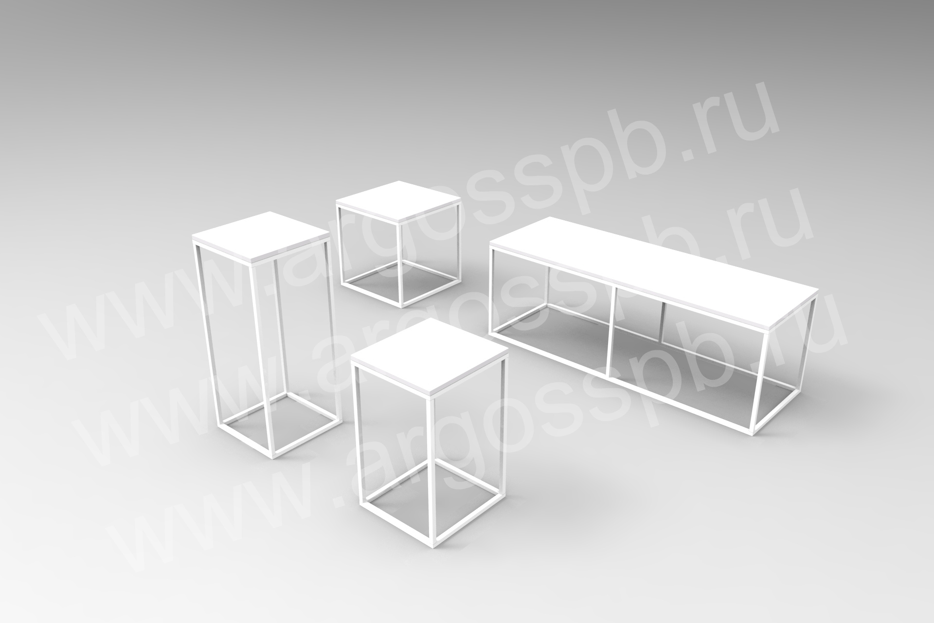 Комплект белых столиков СТ 107