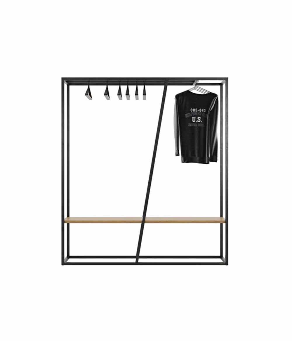 Схема рейла для одежды в стиле лофт